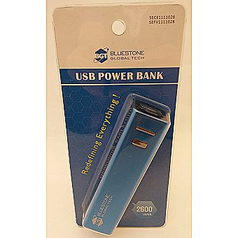 2600mAh External Portable Power Bank Lithium Battery Charger (BLUE)