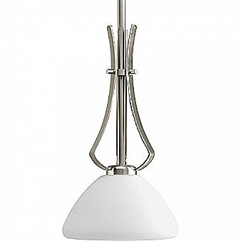 Progress Lighting Rave 7-in W Brushed Nickel Mini Pendant Light with Frosted Shade