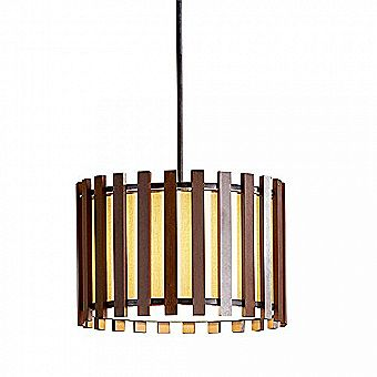 Allen & Roth 17.75-in W Pecan Standard Pendant Light with Fabric Shade