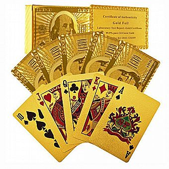 999.9 24 K Gold Foil-Plated Playing Cards Texas Hold Em Poker w/ Certificate