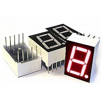 3 pc 7 Segment LED Display - Common Cathode Digital Display Tube - 0.5-in x 0.75-in (1/2 inch x 0.75 inch) - Red Single Digit/Number/Letter 10-pin Through Hole Often Used as Arduino Output Indicator