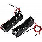 2pcs Spring Clip Black Plastic 1 x 1.5V AA Battery Case Holder