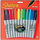 Sharpie Permanent Markers Fine Point 12/Pkg-Assort